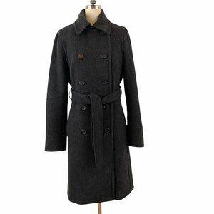 J Crew Womens Size 10 Wool Blend Dark Gray Belted Stadium Cloth Coat